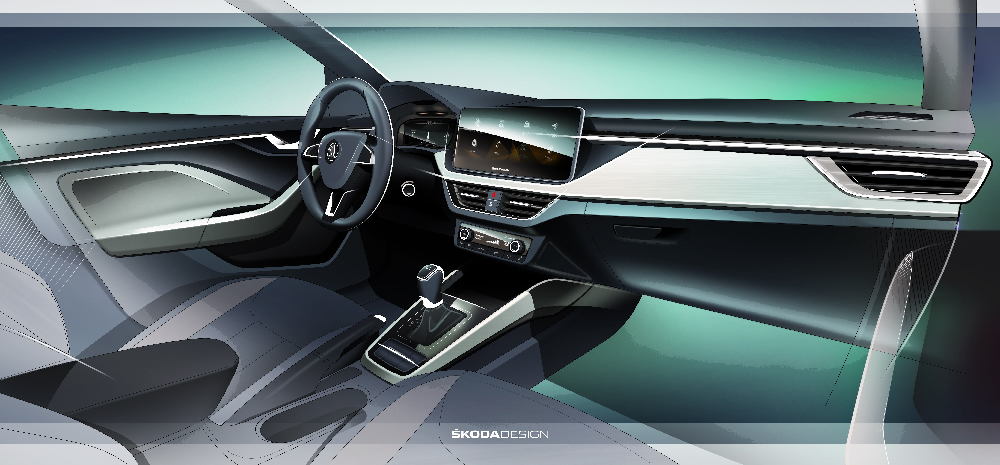 Skoda releases sketch of Scala's interior concept