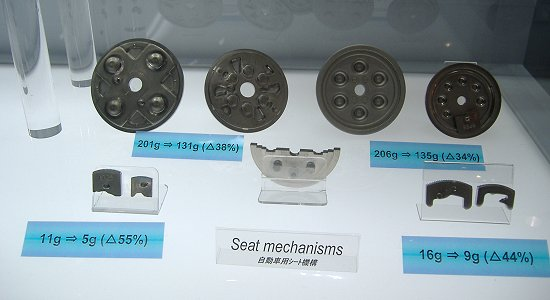 Feintool's seat reclining parts (an example of weight reduction)