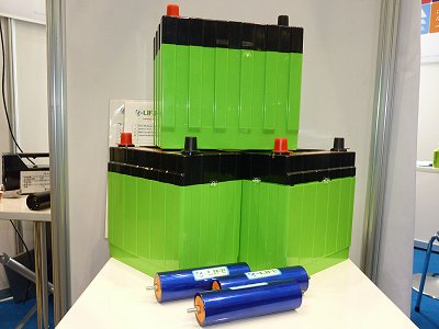 Lithium-ion starter batteries exhibited by Tatung Fine Chemicals of Taiwan and Sanko Semiconductor of Japan