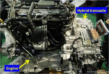 External view of the hybrid transaxle integrated with the engine