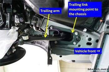 Trailing arm mounting point to the chassis