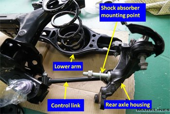 Shock absorber mounting point to the rear axle housing