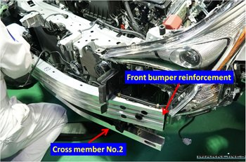 Front bumper reinforcement and cross member No. 2