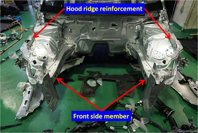 Framework of the engine compartment