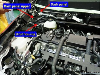 Dash panel upper connecting RH and LH strut housing and dash panel