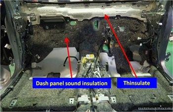 Sound insulation on the dash panel