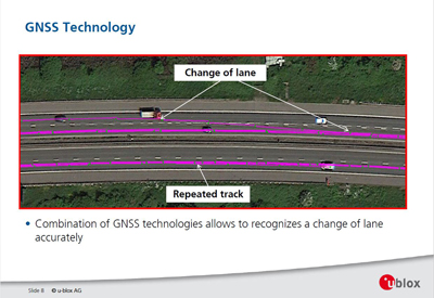 Example of GNSS system identifying lane changesSource: ublox
