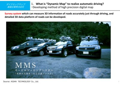 Dynamic Map Corporation will utilize the the Mitsubishi Electric Corporation developed Mobile Mapping System (a mobile high precision 3D information platform). Mitsubishi Electric is one of the company's shareholders (Source: Eisan Technology Co. Ltd.).