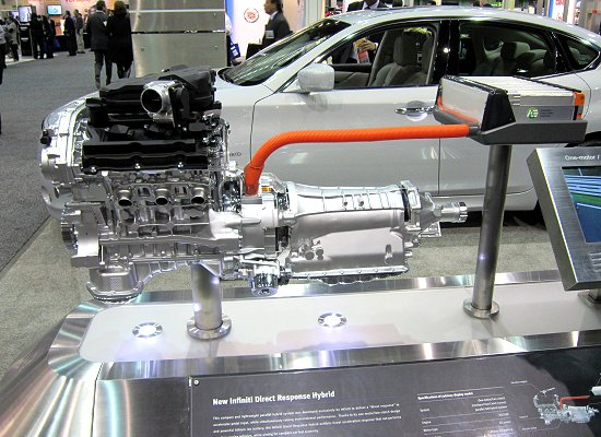 Engine, motor, and 7-speed AT and Li-ion battery used in the M35h. Its maximum output is 360hp