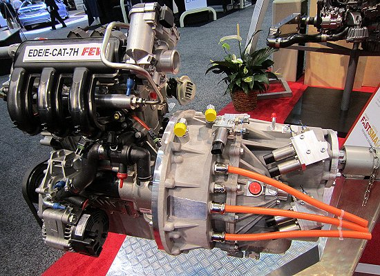HEV powertrain that combines a 0.7L turbo engine and a 7-speed Hybrid Transmission with built-ion motor