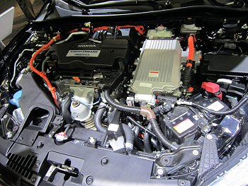 2014 Honda Accord plug-in hybrid engine compartment with i-MMD