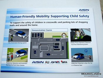 Panel of Aisin Human-Friendly Mobility Supporting Child Safety demonstration