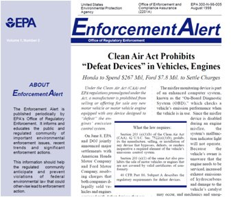 EPA notice prohibiting use of defeat devices