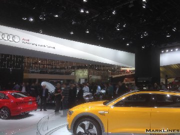 Crowds in Audi's exhibit