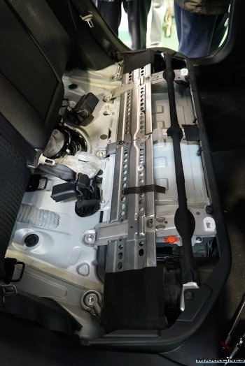High-voltage battery stored under the rear seats