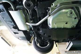 Bottom view of the rear suspension area