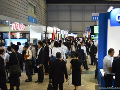 Denso (near left side) and Hitachi AMS (far left) had many attendees visit their booths